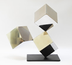 Photo: 18 REFLECTIONS - 19H X 22W X 9D Polished Stainless Steel, Painted Mild Steel, Front View