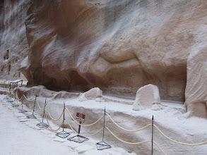 Photo: Remnants (just the feet) of a sculpture of a camel caravan
