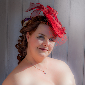 All a lady needs is her hat! by John Walton - People Portraits of Women ( #heritagefocus, #hat, red, #red, #redhat )
