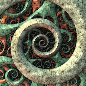 Tentacles by Lyle Hatch - Illustration Abstract & Patterns ( abstract, spirals, pattern, 3d, mandelbulb 3d, 3-d, curls, swirls, fractal, curves, tentacles, three dimensional )