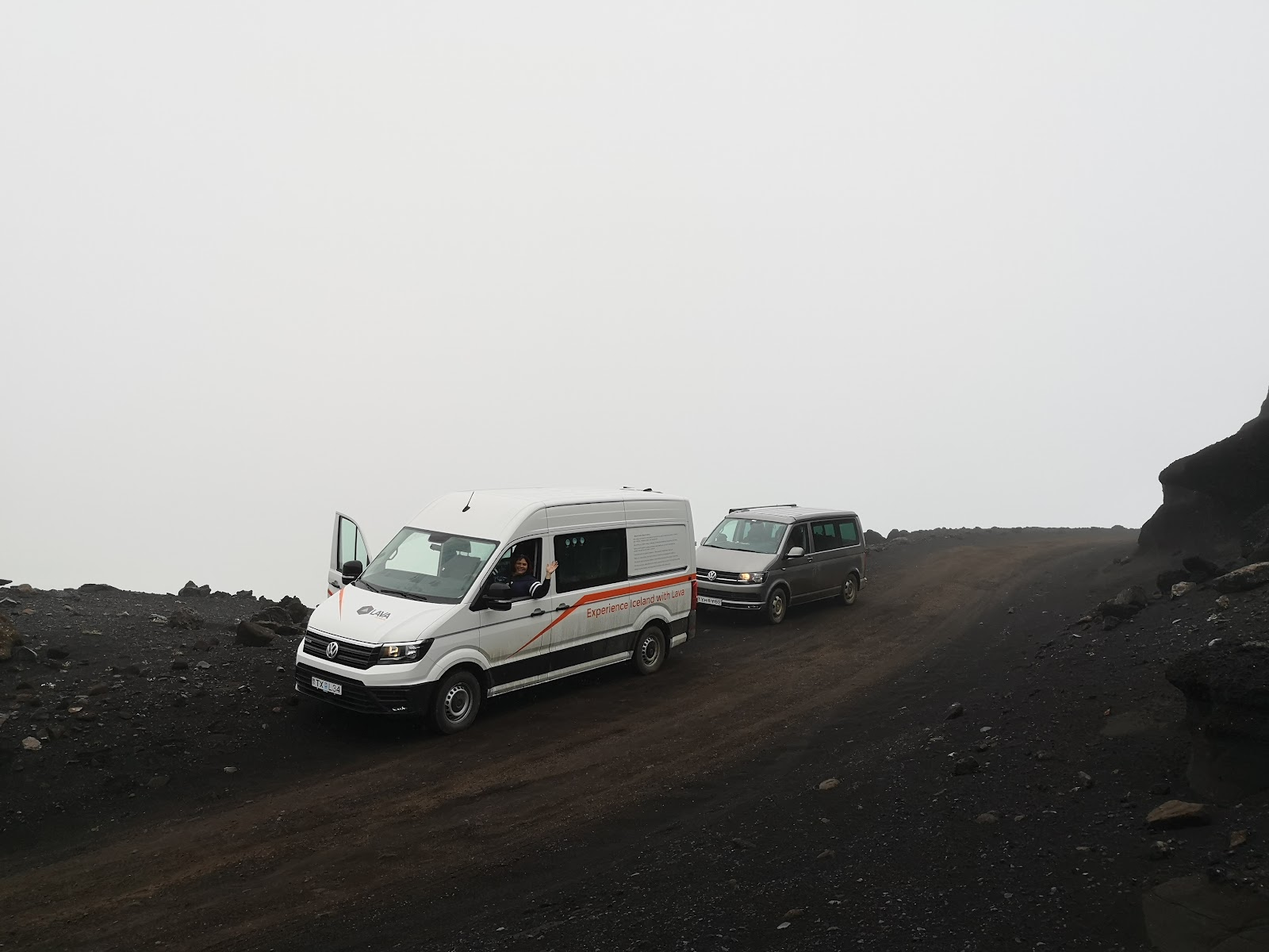 Van in Iceland at the top of a volcanic mountain.