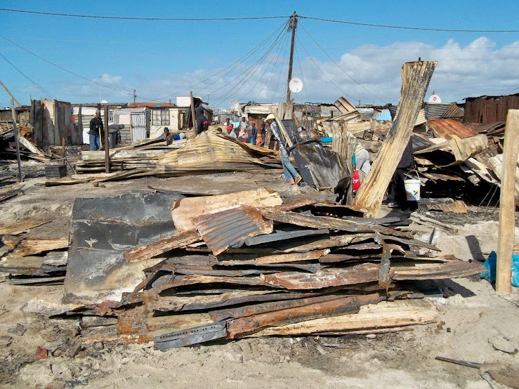 About 35 shacks were destroyed by fire in Tsepetsepe informal settlement, Khayelitsha, in a fire on Tuesday.