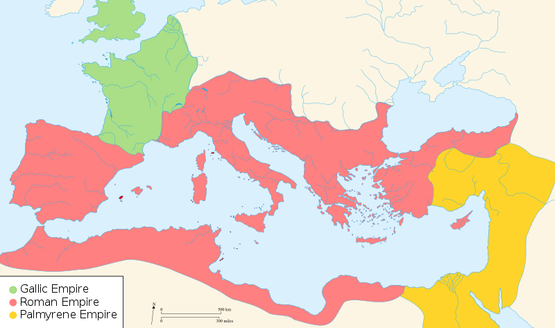 Map of Europe depicting the three rival Roman empires during the crisis period.