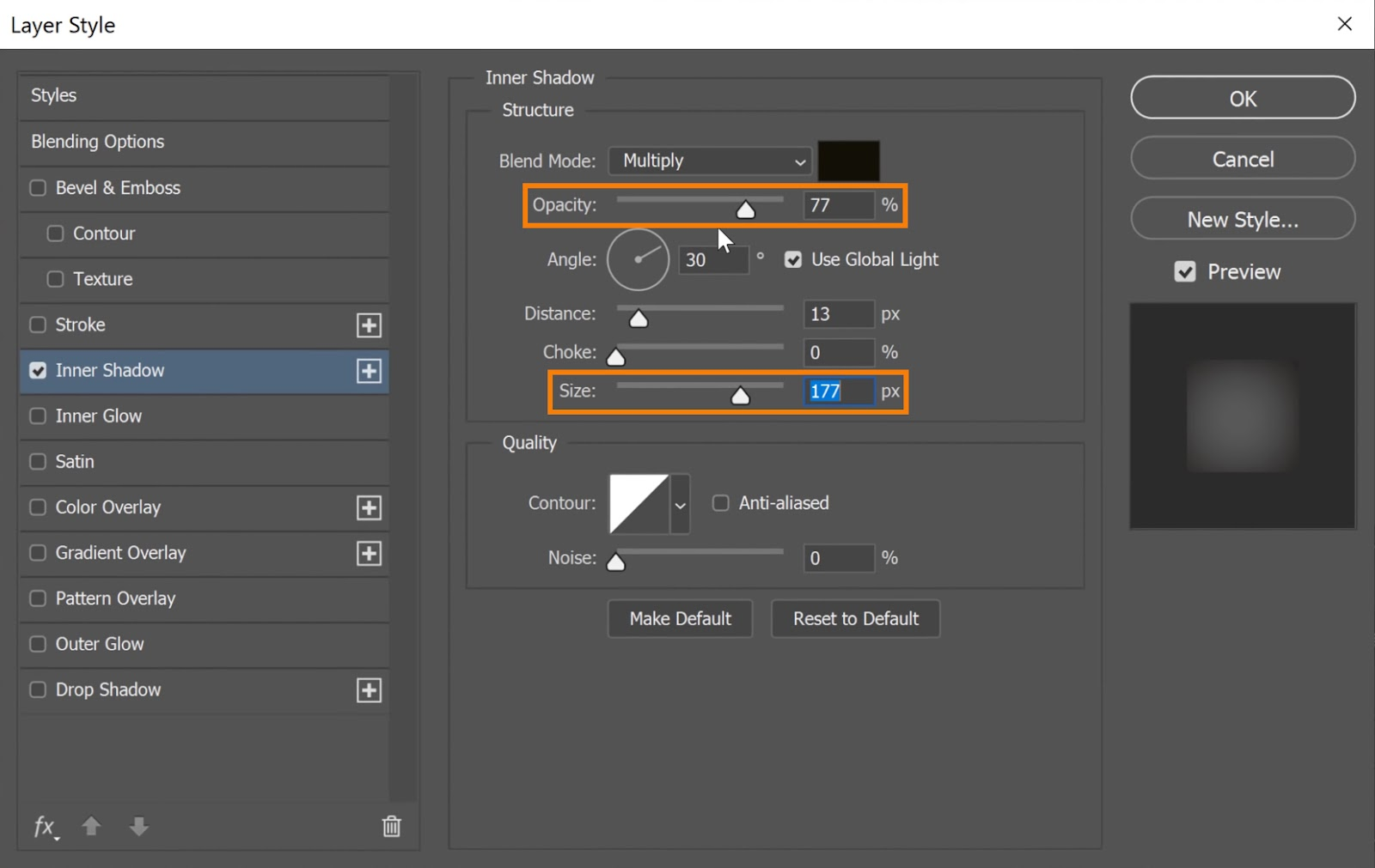 On the Inner Shadow Structure, adjust the Size and Opacity sliders to enhance its appearance