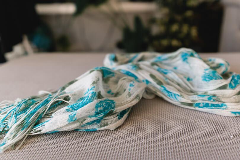 White and blue pashmina scarf
