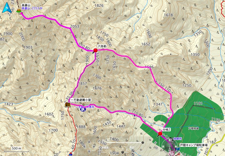 高妻山 登山コース地図