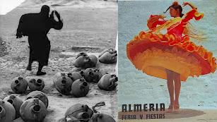 Pérez Siquier y su imagen que retrata a toda una época de miseria. A la derecha, Conchita Montes, cartel de la Fería de Almería 1971.