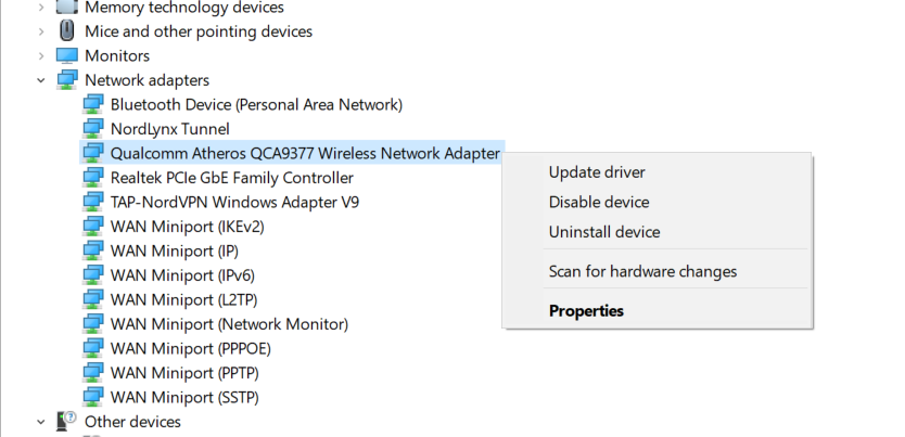 update your network adapter driver windows 10