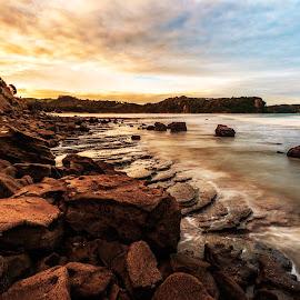 Low Tide by Richard Kam - Landscapes Sunsets & Sunrises ( sunset, rocky, gulf, shoreline, sea, ocean, beach )