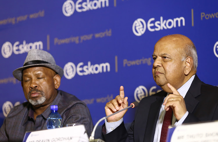 Eskom Bord Chairman Jabu Mabuza and Public Enterprises Minister Pravin Gordhan at a media briefing about the power outages that have hit the country. Picture: MASI LOSI