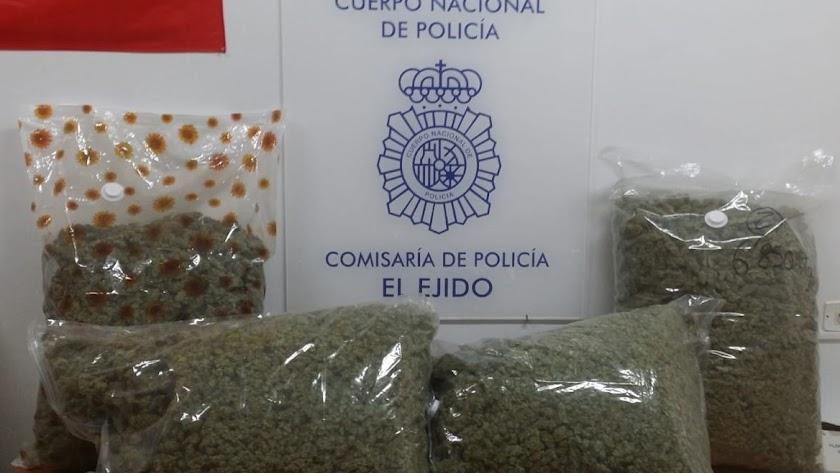 Los 29 kilos de marihuana iban fraccionados en cuatro bolsas herméticas.