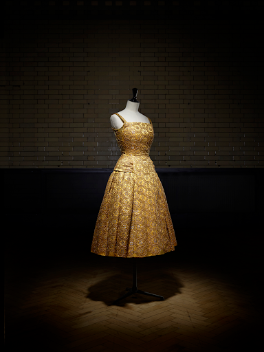 Christian Dior V&A Exhibit Gold Dress Autumn/Winter 1954 Haute Couture