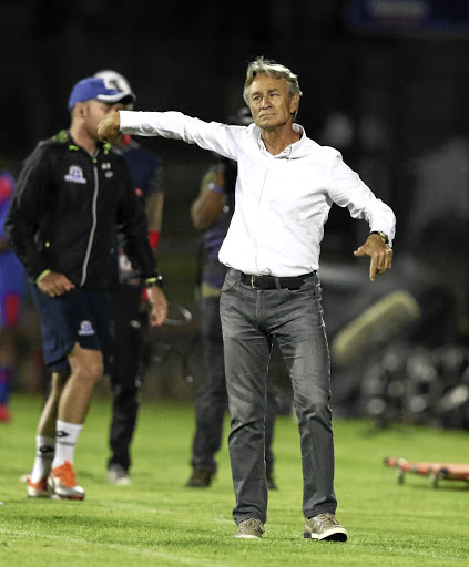 Maritzburg United coach optimistic that his team will survive relegation. / Gallo Images / Anesh Debiky