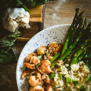 Shrimp in Lemon Oil with Cauliflower Rice and Asparagus Recipe