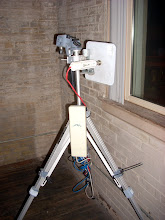 Photo: Temporary installation with UBNT Bullet M5 for backhaul and Nanostation 2 for the AP, using a salvaged camera tripod