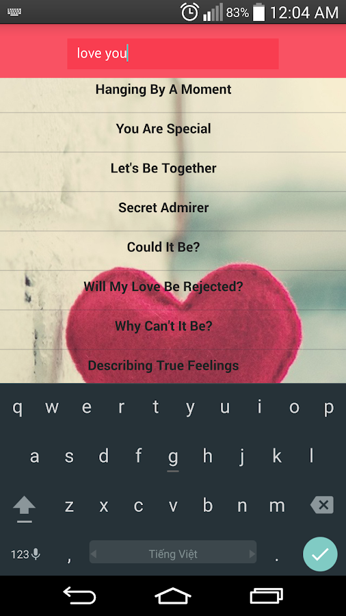 love letters screenshot
