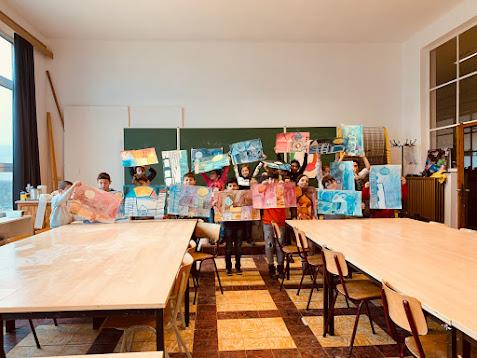 Abstract schilderen zoals de Duitse kunstenaar Paul Klee