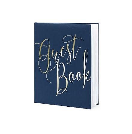Gästbok Marinblå & Guld, stående