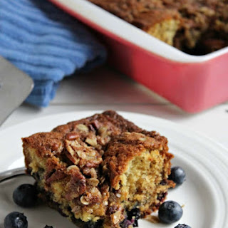 Blueberry Banana Coffee Cake with a Pecan Crumble Topping Recipe