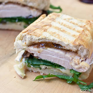 Chicken, Brie, Fig and Arugula Panini.