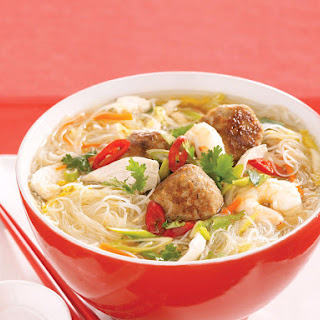 Noodle Soup with Pork, Chicken and Shrimp.