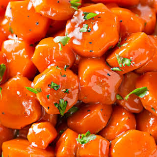 Spicy Bourbon Glazed Carrots.