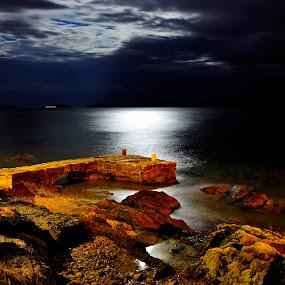 Nightflight.. by Zvonimir Cuvalo - Landscapes Waterscapes ( adriatic, sea, prvic sepurine, night, longexposure )