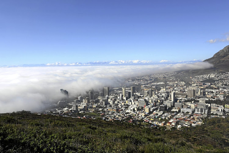 Mist rolls in from the sea over Cape Town. File photo.
