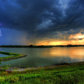 Lucky catch by Casey Mitchell - Landscapes Sunsets & Sunrises ( strom, wow, lightning, sunset, lake,  )