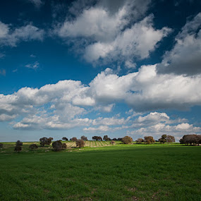 Green Hill by Idan Presser - Landscapes Mountains & Hills ( clouds, hill, blue, green )