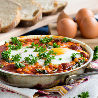 Chorizo and Chickpea Stew with Baked Eggs