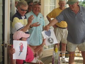 """Photo: Ginger Smith gets the """"Bird"""" and """"Purple Heart"""" award for injuries sustain playing Whiffle Ball."""
