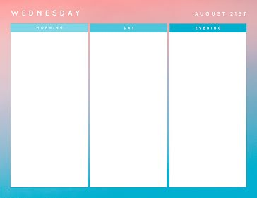 Wednesday Schedule - Daily Planner Template