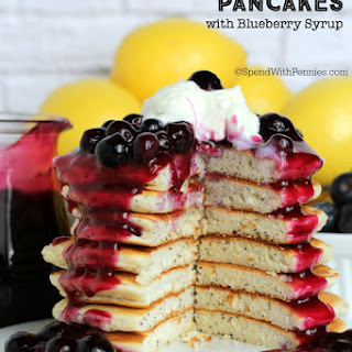 Lemon Poppy Seed Pancakes with Homemade Blueberry Syrup