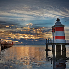 Lighthouses at sunrise, Lignano by Michaela Firešová - Landscapes Sunsets & Sunrises ( sunrise, lignano, lighthouse, clouds, holiday, colors, italy )