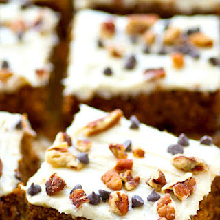 Gingerbread Chocolate Chip Cake Bars with Cream Cheese Frosting.