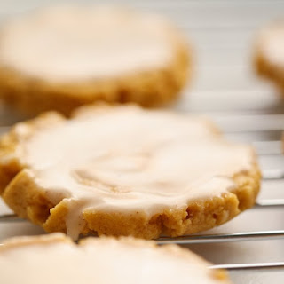Soft Glazed Pumpkin Sugar Cookies.