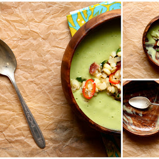 Cold Avocado Soup with sweet corn and bacon