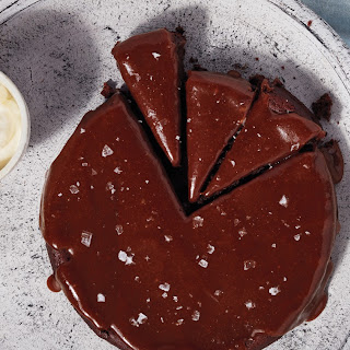 Flourless Chocolate-Date Cake with Salted-Caramel Sauce.