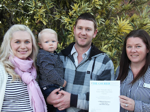 14-month-old Leo Scott is the winner of The Courier's Narrabri Shire's Cutest Baby Competition for 2017, pictured with parents Jess and Nick Scott and The Courier advertising consultant Kylie Browne.