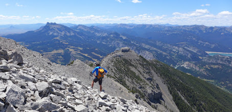 Photo: On way down, near false summit - those neat arches are behind his head.