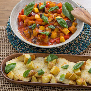 Cod & Summer Squash Ratatouille with Roasted Potatoes.