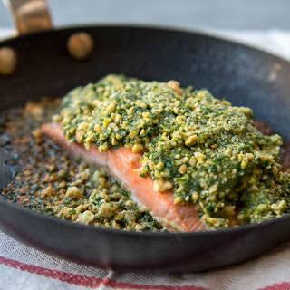 "Cashew Crusted Salmon with ""Ponzu"" Sauce."