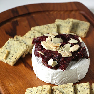 Baked Goat Cheese Brie with Fig Jam.