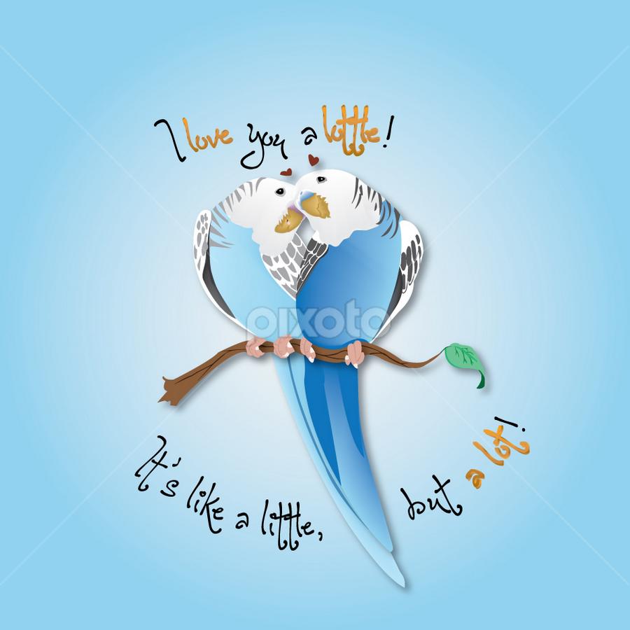 Budgie I love you a lottle! by Valerie Aebischer - Illustration Animals ( i love you a lottle, budgie, parakeet, parakeets, little parrots, budgies )