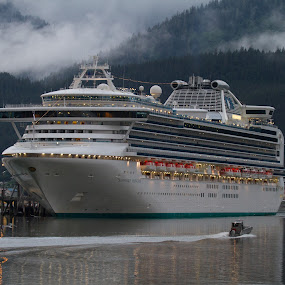 Sapphire Princess Cruise Ship in Juneau, Alaska by Debbie Salvesen - Transportation Boats ( princess cruise ship, august, nature, dusk, outdoor photography, 2011, people, summer, juneau, waterscape, alaska, cruise, vacation, family, travel, fun,  )