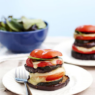 Baked Eggplant, Tomato and Basil Stacks.
