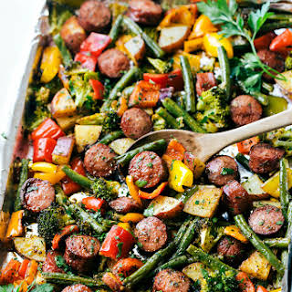 One Pan Healthy Sausage and Veggies.