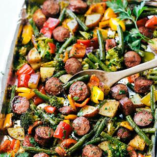 One Pan Healthy Sausage and Veggies.