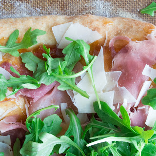 Prosciutto, Parmesan, and Arugula Flatbread with Fig Jam Spread